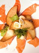 Salmon,Toasts And Egg
