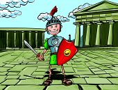 Cartoon Roman Legionary standing in front of a Roman temple