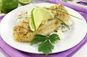 image of hake  - Potato salad with fresh herbs and hake fillet - JPG
