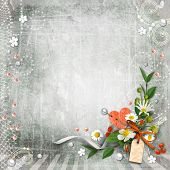 Grey Textured Background Vintage With Flowers.