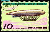 Vintage postzegel.  Luchtschip Fleurus.