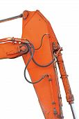 foto of dozer  - Old Generic Excavator Dipper And Boom Plus Bucket Ram Vertical Closeup Isolated Orange Yellow Details Backhoe Dozer Hydraulics Hoses Links Pistons Bolts - JPG