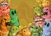 Horizontal background of colorful monsters