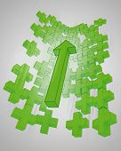 green graph wall from plus sign with increasing arrow up