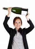 Businesswoman And Champagne Bottle