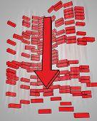 concepto de negocio con pared roja de signos menos con la disminución de la flecha