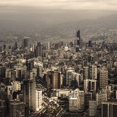 Beautiful Lebanon cityscape, aerial view, arabic architecture, tall buildings, travel and tourism co