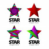 Collection of vector design of stylized icons with a star