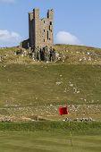 Dunstanburgh Castle Tower Above Golf Course