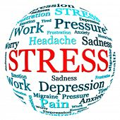 stock photo of spherical  - Stress related text arrangement  - JPG
