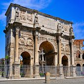A view of the Arch of Constantine and the Coliseum in Rome, Italy