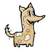 happy retro cartoon dog wagging tail