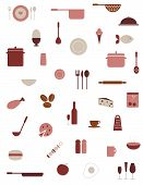 pic of kitchen utensils  - Collection of food and kitchenware vector icons - JPG