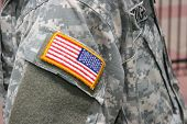 picture of usa flag  - United States flag patch on Iraq war soldier uniform - JPG