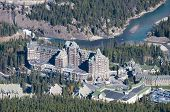 Banff Aerial View, Banff Springs Hotel located beside the river.