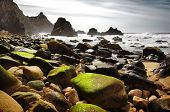 Rocky seascape of Ursa Beach in Portugal