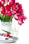 Table Setting With Pink Tulips And Vintage Wine Glasses
