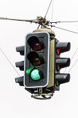 a traffic light with green light. symbolic photo for free travel, and economic success