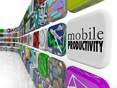 The words Mobile Productivity on an app tile surrounded by programs, software and apps designed to h