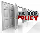 Open Door Policy words in opened doorway to symbolize and illustrate free and welcome communication