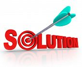 The word Solution in red 3D letters and an arrow in a target bulls eye in the letter O to symbolize