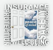 The words Insurance, Security, Protection, Well-Being, Coverage, Confidence and Responsibility to re