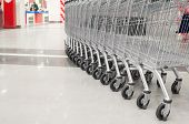 row of big carts in supermarket