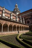 stock photo of carthusian  - Certosa di Pavia monastery cloister - JPG