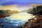 Mountain River In The Morning Painted By Watercolor.