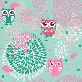 Owls and flowers seamless pattern