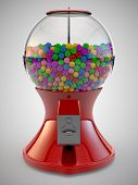 stock photo of gumball machine  - A Render of colorful gumball red machine - JPG