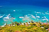 Hermosa playa de Oahu, Hawaii de Diamond Head