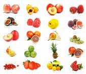 stock photo of white purple  - Fruits Collection with Apples Oranges Kiwi Pineapple Blood Orange Nectarines Lemon Lime Figs Raspberries Cherry Strawberries Peas and Loquat Medlar isolated on white background - JPG