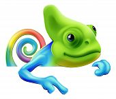 picture of chameleon  - An illustration of a cute cartoon rainbow coloured chameleon pointing from above a sign or banner - JPG