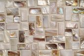 picture of mother-of-pearl  - Closeup photo of Mother of pearl mosaic tiles - JPG