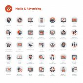 stock photo of e-business  - Set of business icons for media and advertising - JPG