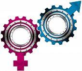 Männliche und weibliche Symbole - Metallgetriebe