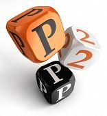 Bloques de dados negro naranja P2P