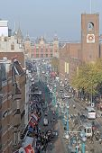 AMSTERDAM, THE NETHERLANDS, october 22: Busy Damrak, the Heart of Amsterdam, with the stockmarket an