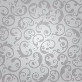 Seamless silver swirls floral wallpaper pattern. This image is a vector illustration.