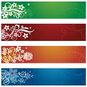 Set of four seasonal flowers and snowflakes banners. This image is a vector illustration.