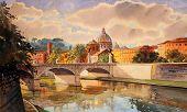Basílica Sant Pietro, río Tíber y Ponte Vittorio Emanuele, Vaticano, Roma, Italia.