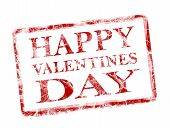 stock photo of valentines day card  - happy valentines day stamp on white background - JPG