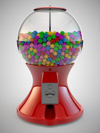 picture of gumball machine  - A Render of colorful gumball red machine - JPG