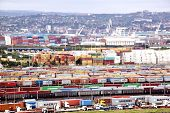 Containers Queued And Stacked At Durban Harbor Entrance
