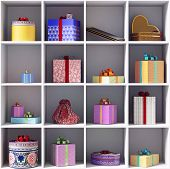 set of gift boxes on she shelves