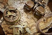 vintage still life with compass,sextant and old map .