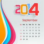 New Year 2014 September month calendar.