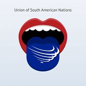 Union of South American Nations language. Abstract human tongue.