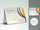 New Year 2014 desk calender or November month planner.